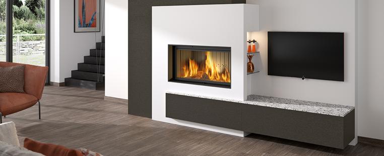 Mantou, cheminée à bois contemporaine